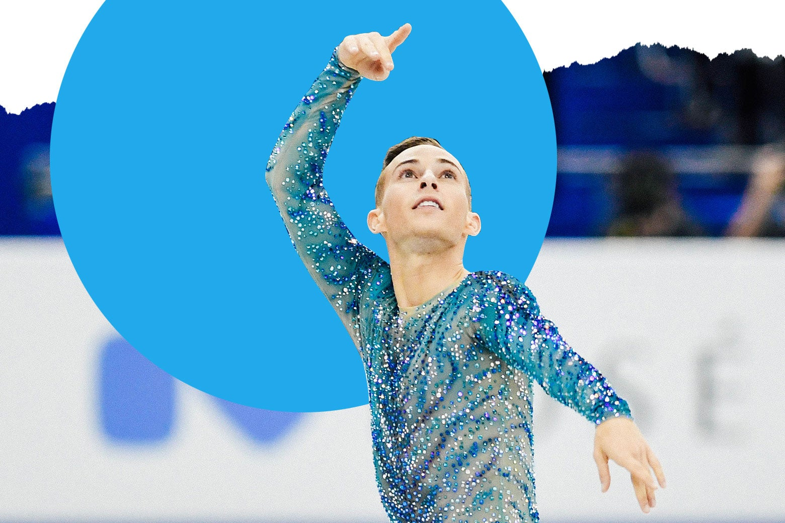 Adam Rippon skating in a sparkly turquoise top.