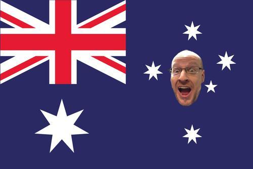 Australian flag with Phil Plait's face