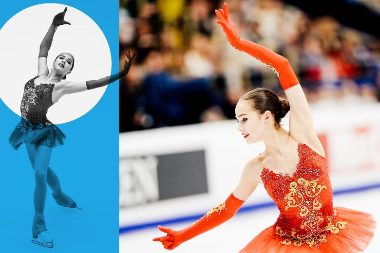 A collage of two images of Alina Zagitova skating (in her red tutu).