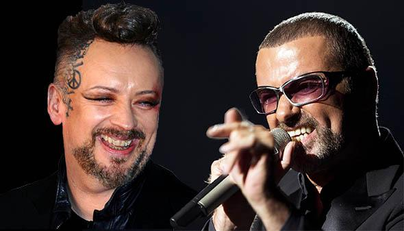 Boy George, left, in Feb. 2014 and British singer George Michael in 2012.
