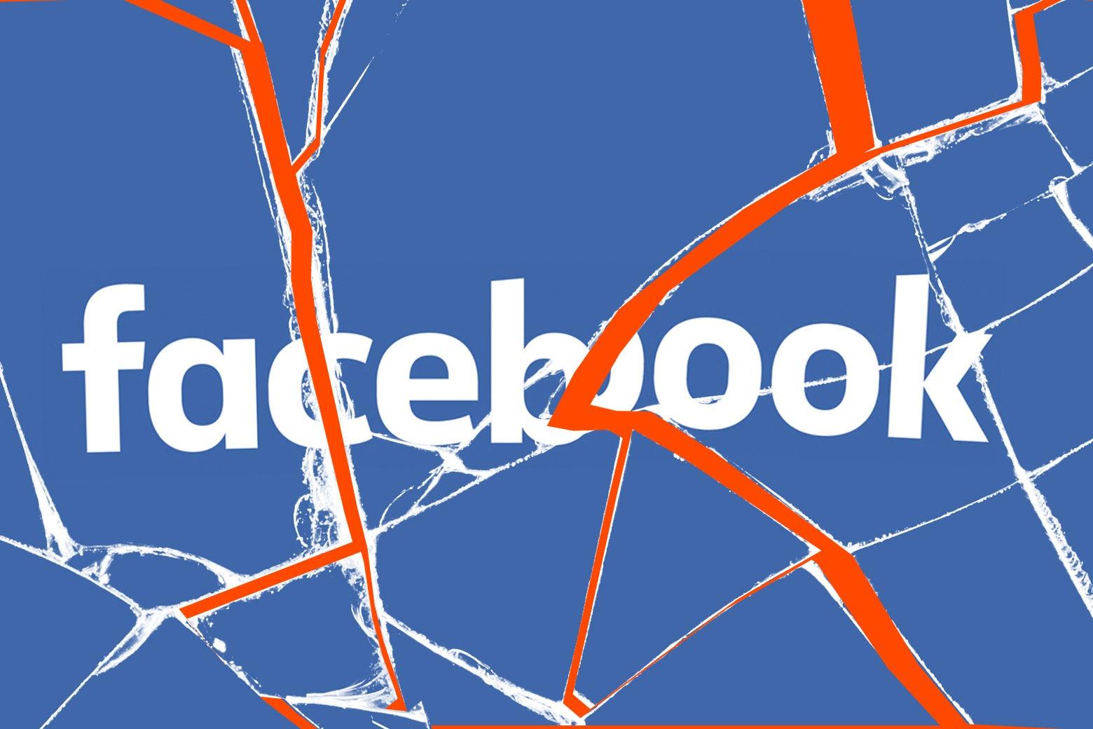 A shattered Facebook logo