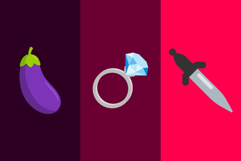 An eggplant emoji, a wedding ring, and a knife to play fuck, marry, kill.