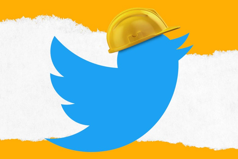The Twitter bird wearing a construction hat