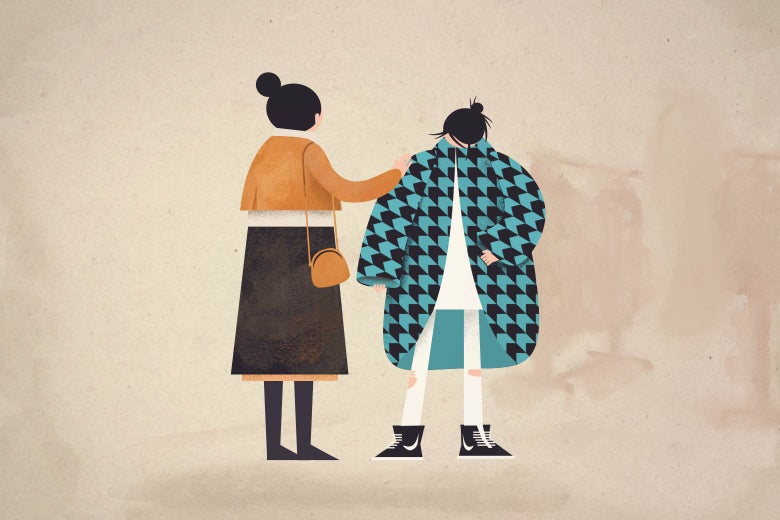 Illustration of a mother with a daughter wearing a new coat.