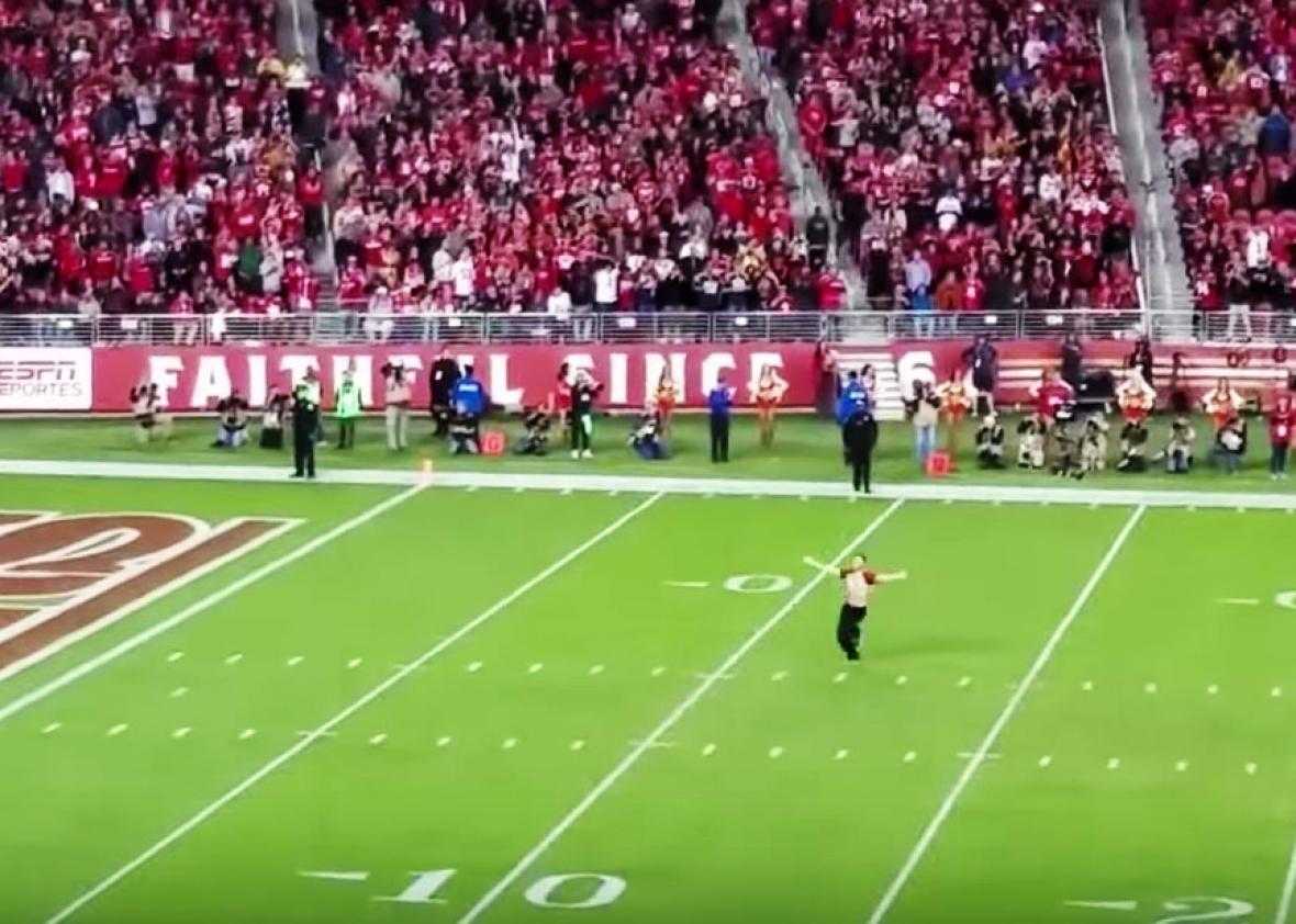 49ers fan William Navarrete streaks on field during season opener at  Levi's Stadium on Sept. 12, 2016