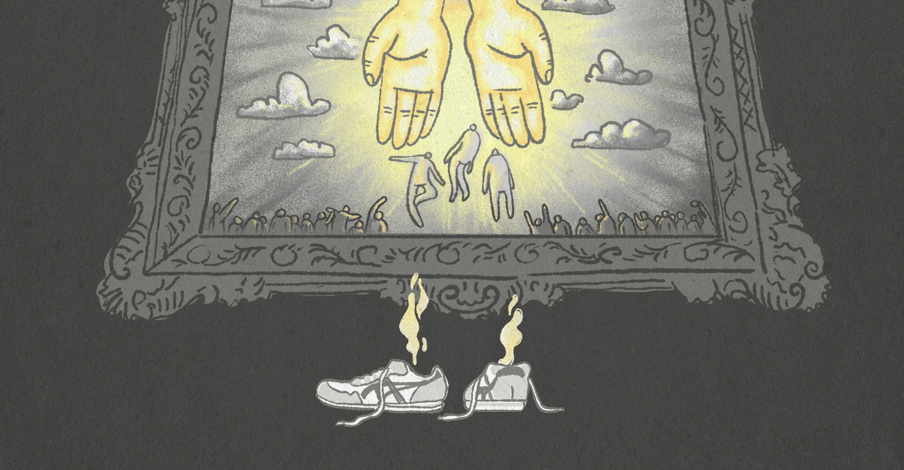 Shoes with smoke drifting upward are seen at the bottom of a picture frame, which depicts hands in the sky reach out to three people floating upward into clouds, while masses of people below observe.