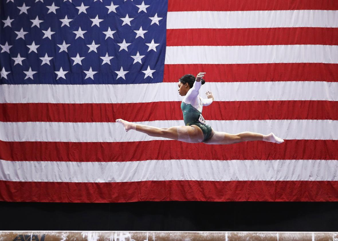 Gymnast Gabby Douglas competes on Saturday in Hartford, Connecticut.
