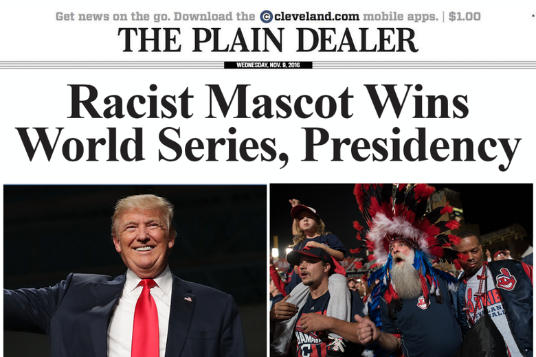 Left: Donald Trump smiling. Right: Cleveland fan in a large headdress of feathers and another in a jacket showing the Chief Wahoo logo.