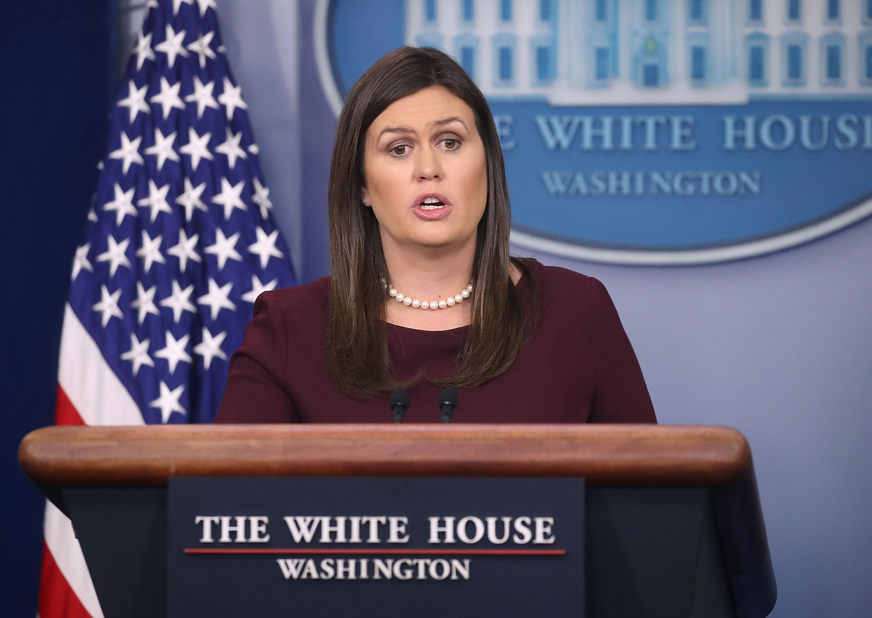 Sarah Sanders answers questions from the press.