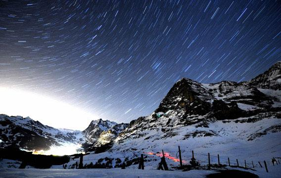 A long night exposure of one of Switzerland's most notable mountains, Eiger Peak, in the Bernese Alps.