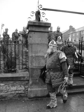One of the guizers from the Jarl Squad during the morning proces,One of the guizers from the Jarl Squad during the morning procession.