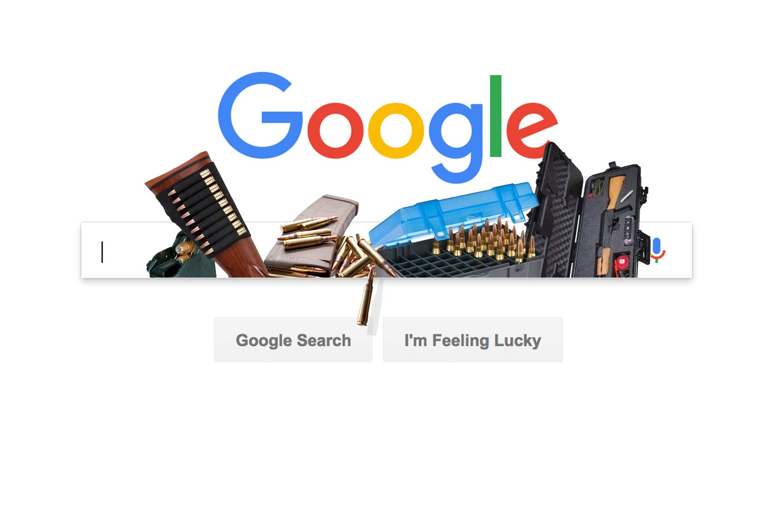 Various gun accessories pictured on top of a Google search box.