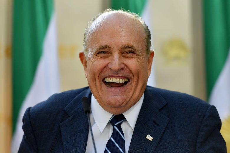 "Rudy Giuliani speaks to the Organization of Iranian American Communities during their march to urge ""recognition of the Iranian people's right for regime change,"" outside the United Nations Headquarters in New York on September 24, 2019."