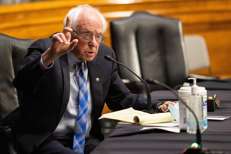 Sen. Bernie Sanders, I-VT, speaks during a hearing to examine the nomination of former Michigan Governor Jennifer Granholm to be Secretary of Energy, on Capitol Hill on Jan. 27, 2021.
