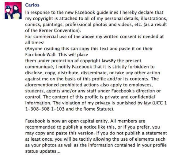 Facebook copyright notice
