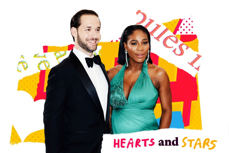 Alexis Ohanian and Serena Williams with text and hearts and Hearts and Stars logo