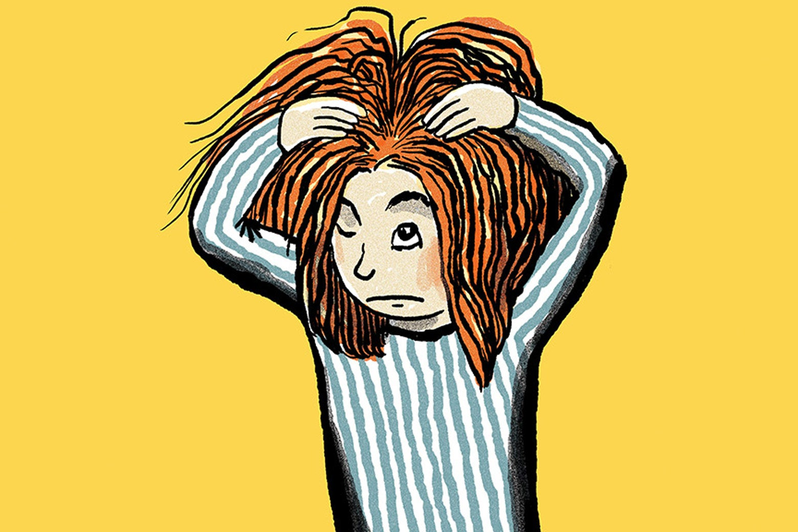 Illustration of a redheaded child itching her head.
