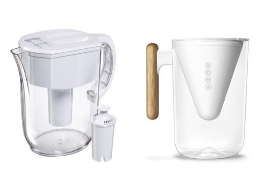 White Brita pitcher and white Soma pitcher.