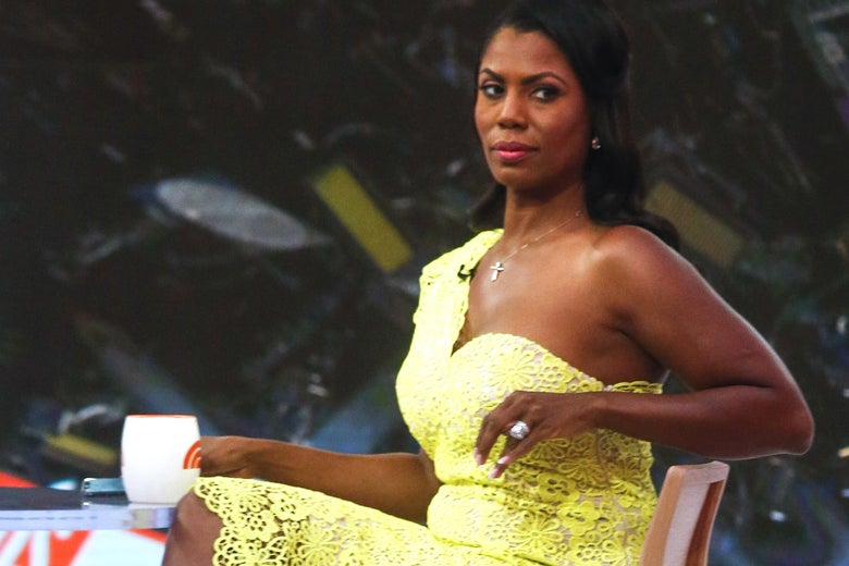 Omarosa Manigault-Newman sits, holding a mug, waiting ahead of an appearance on The 'Today Show' on August 13, 2018 in New York City.