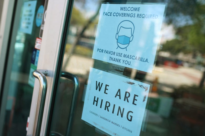 MIAMI, FLORIDA - MARCH 05: A 'we are hiring' sign in front of a store on March 05, 2021 in Miami, Florida. The restaurant is looking to hire more workers as the U.S. unemployment rate drops to 6.2 percent, as many restaurants and bars reopen. Officials credit the job growth to declining new COVID-19 cases and broadening vaccine immunization that has helped more businesses reopen with greater capacity. (Photo by Joe Raedle/Getty Images)