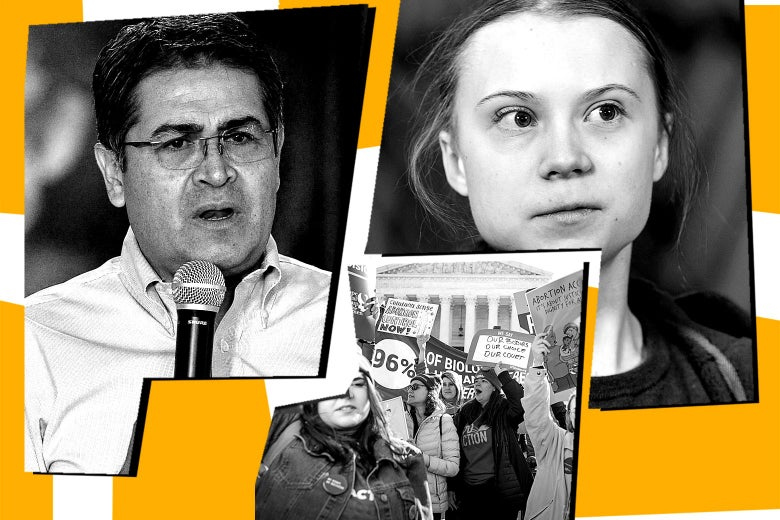 Photo collage of Juan Orlando Hernandez, protesters outside the Supreme Court on Wednesday, and Greta Thunberg.