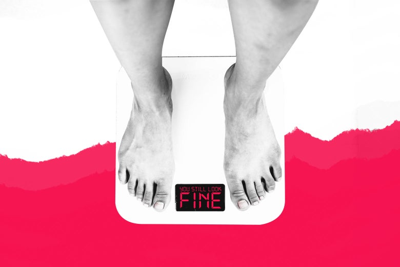 """Feet standing on a scale that reads """"You still look fine."""""""