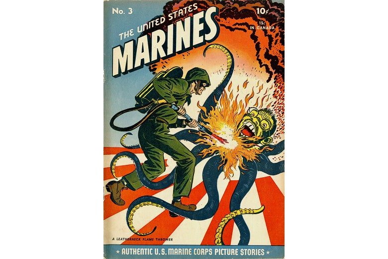 A white man in army fatigues uses a flamethrower on a stereotypical Asian character with octopus tentacles.