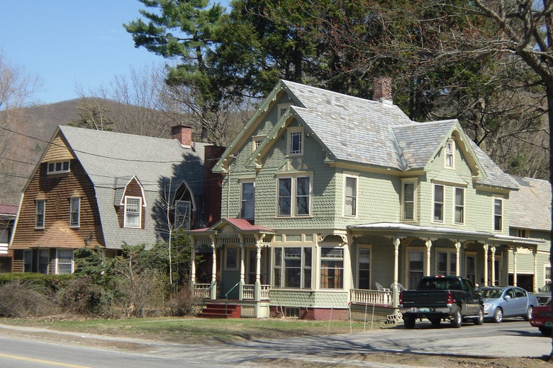 Two houses along a Vermont country road.
