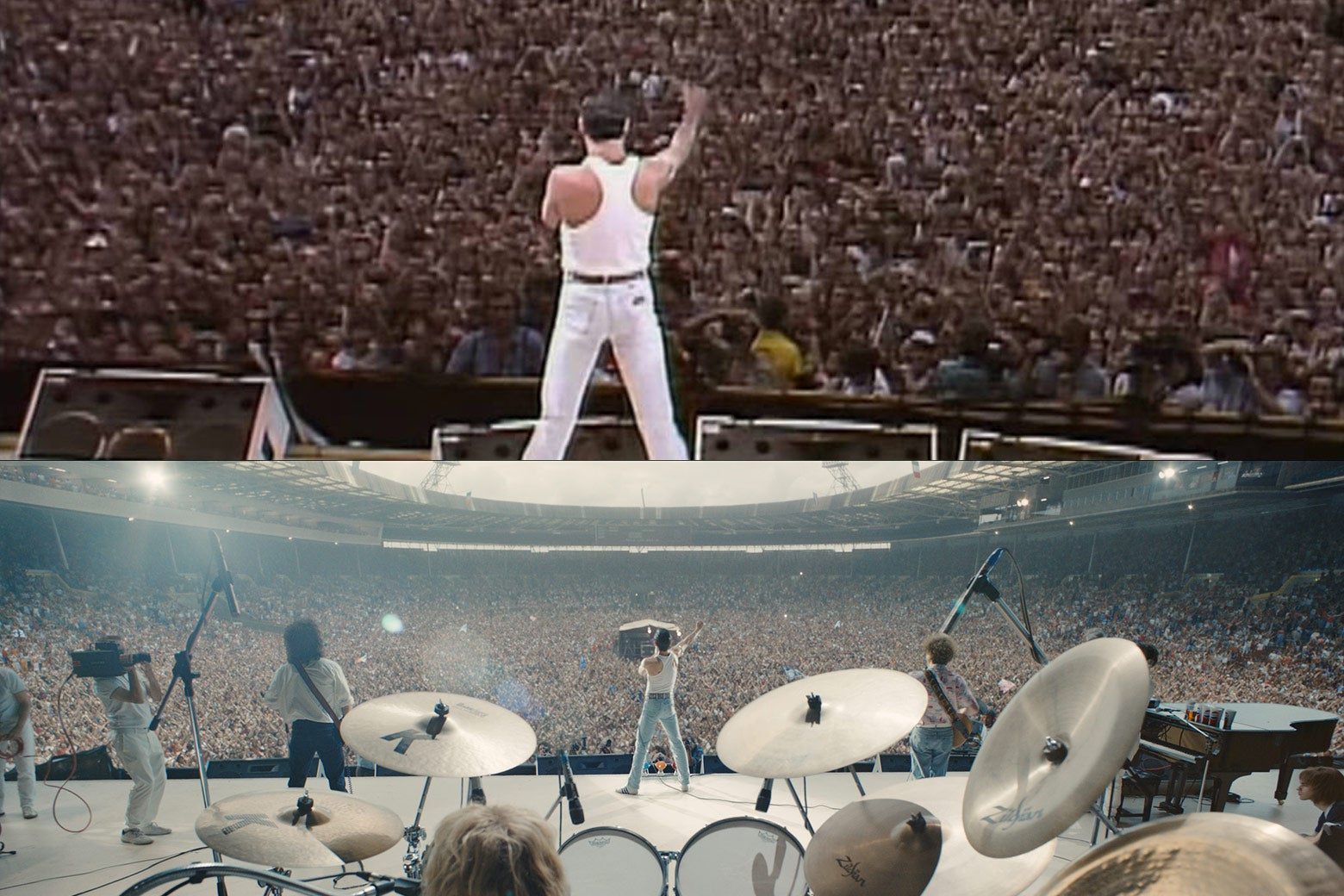 The band performs at Live Aid, in real life and in the movie.