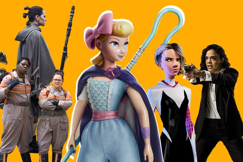 Rey, Leslie Jones and Melissa McCarthy in Ghostbusters, Bo Peep, Spider Gwen, and Tessa Thompson in Men in Black: International.