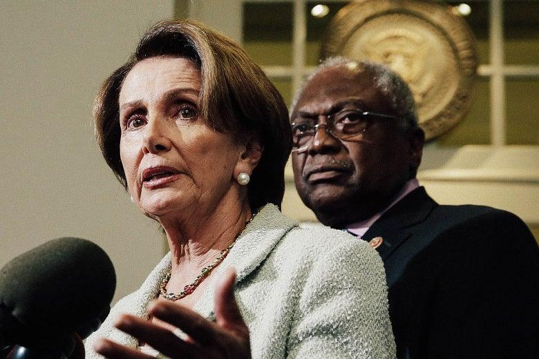 House Minority Leader Nancy Pelosi and Rep. James Clyburn on Oct. 9, 2013, in Washington.