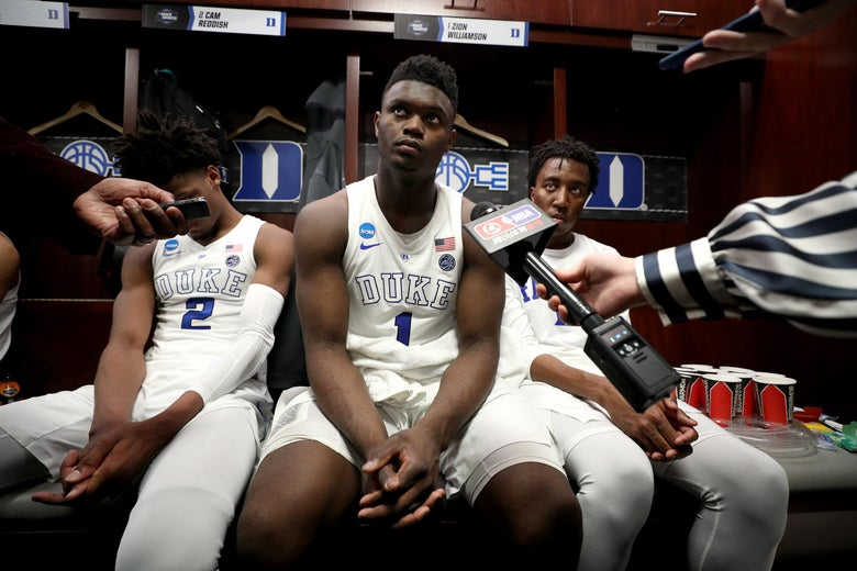 WASHINGTON, DC - MARCH 31:  Zion Williamson #1 of the Duke Blue Devils is interviewed in the locker room after his teams 68-67 loss to the Michigan State Spartans in the East Regional game of the 2019 NCAA Men's Basketball Tournament at Capital One Arena on March 31, 2019 in Washington, DC. (Photo by Patrick Smith/Getty Images)
