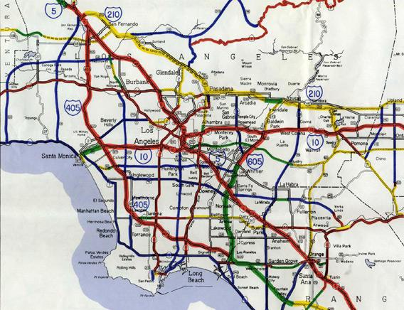 This map shows California's freeway and expressway system, planning and construction progress in January 1965. Route 2 is the route that corresponds to what would have been the Beverly Hills Freeway. Red signifies highways that were constructed, but not necessarily completed to ultimate standards. Green was for highways that were under construction or budgeted. Yellow was for adopted freeway routes and blue was for potential freeway routes that had not been adopted.