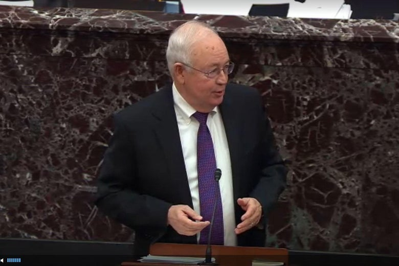 Kenneth Starr speaks at a mic before the Senate as part of Donald Trump's impeachment trial.