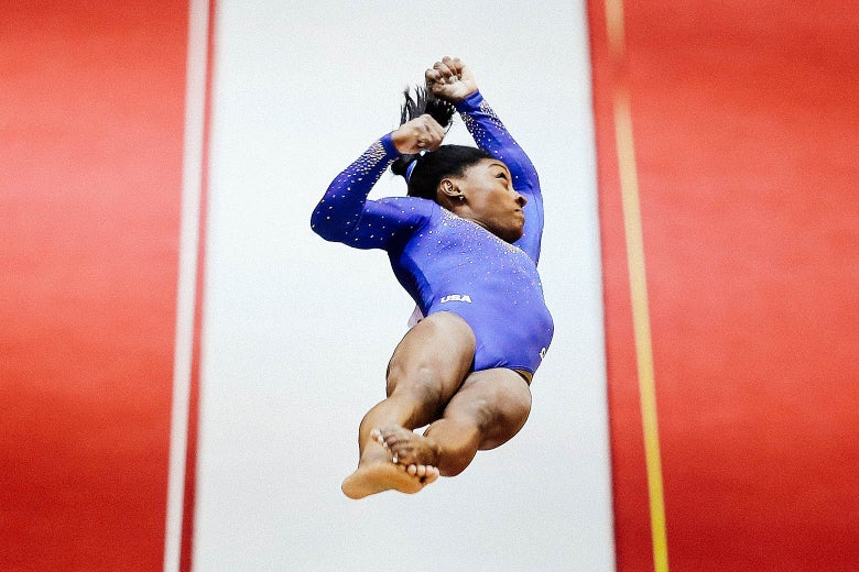 Simone Biles, mid-vault. The angle of the image makes it unclear as to whether it was the Biles.