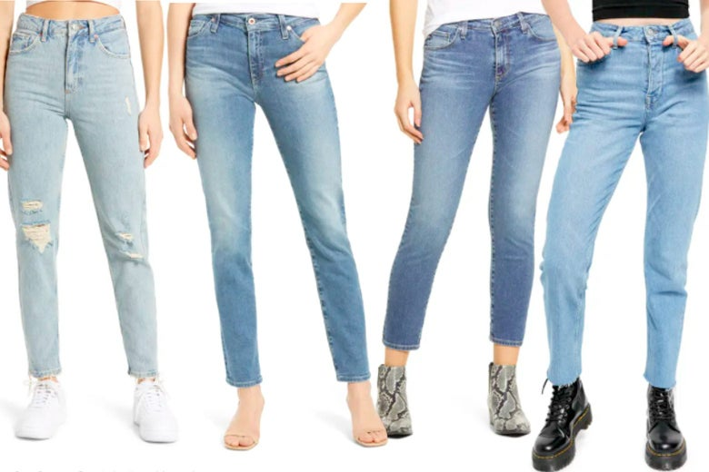 Four different styles of jeans are modeled.
