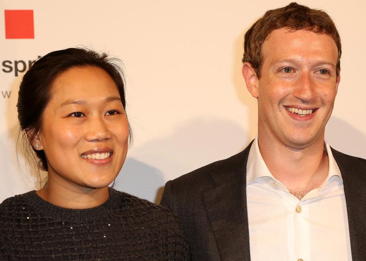 Priscilla Chan and Mark Zuckerberg arrive for the presentation of the first Axel Springer Award on Feb. 25 in Berlin.