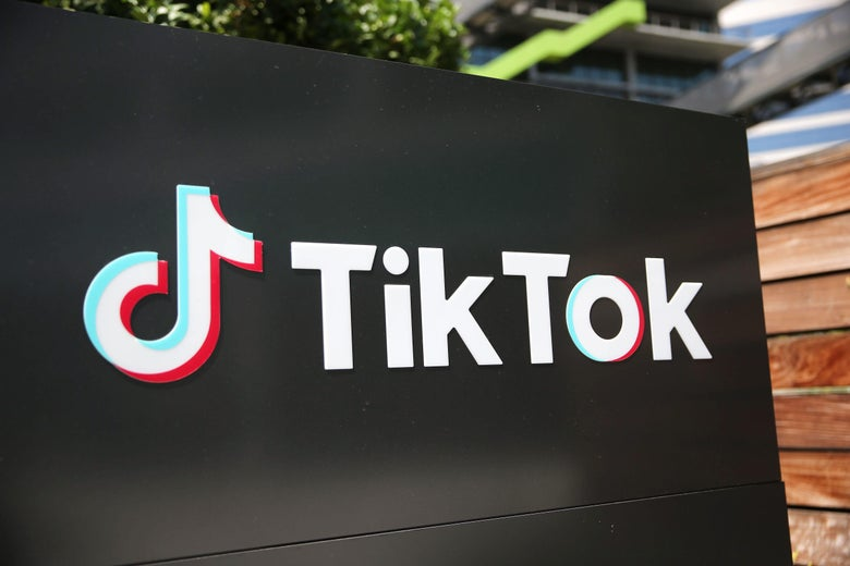 The TikTok logo outside a TikTok office in California