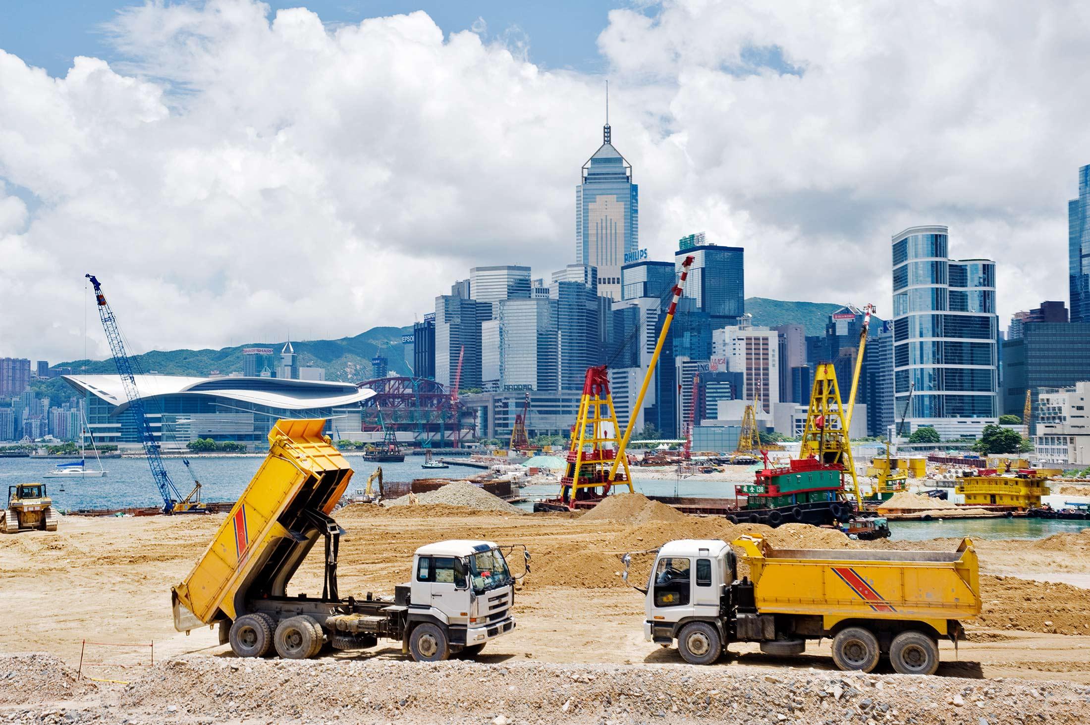 Major reclamation works in progress in Victoria Harbour