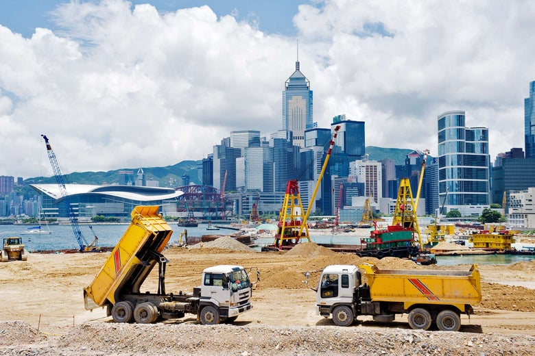Major reclamation works in progress in Victoria Harbour