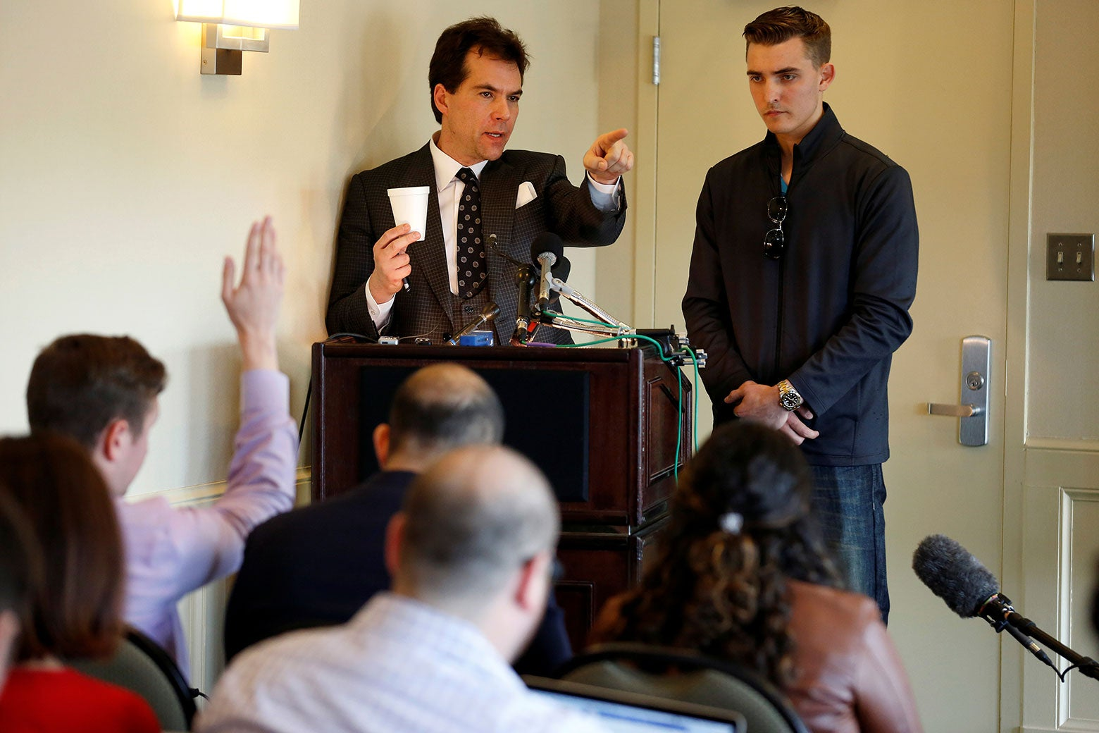 Jack Burkman and Jacob Wohl at a news conference