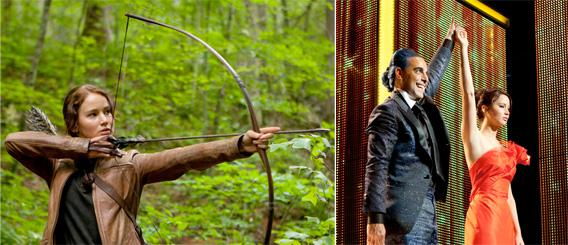 side-by-side images of Katniss Everdeen (Jennifer Lawrence) and Caesar Flickerman (Stanley Tucci) with Everdeen.