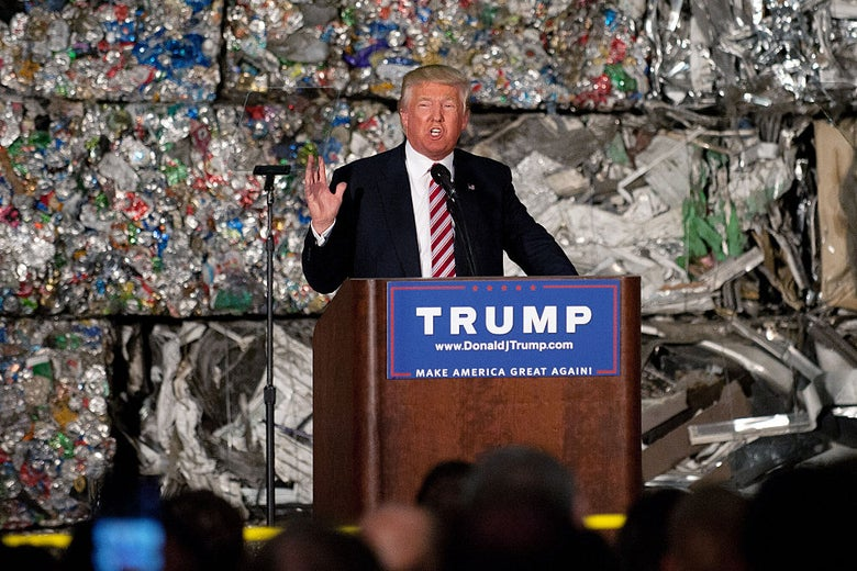 Donald Trump delivers a speech in Monessen, Pennsylvania on June 28, 2016, shortly after the news broke that Russian hackers had targeted the Democratic National Committee.