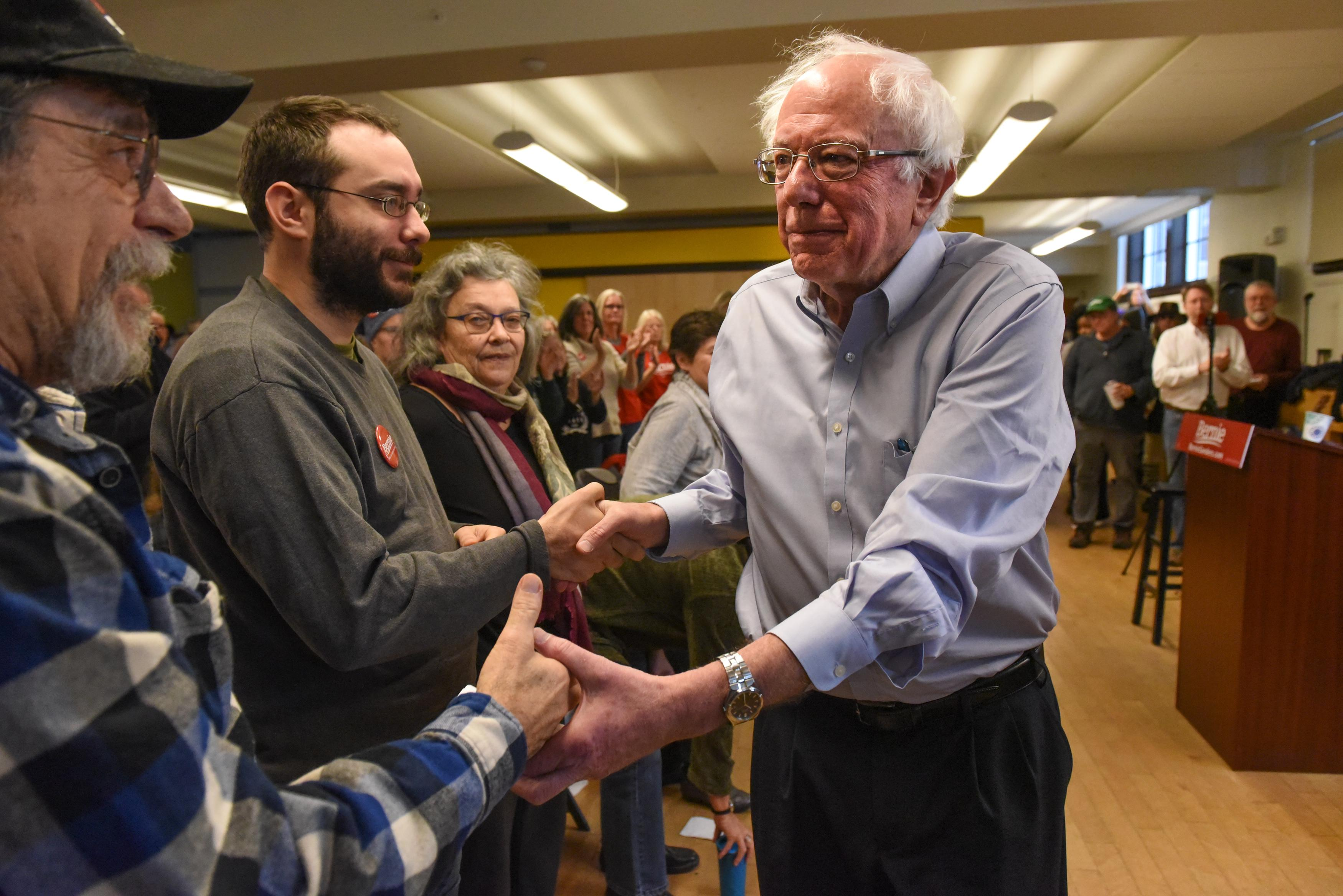 Sen. Bernie Sanders shakes hands with supporters at a campaign event in Vermont in November 2018.