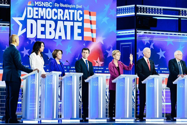 Democratic candidates onstage for the MSNBC–Washington Post Democratic debate