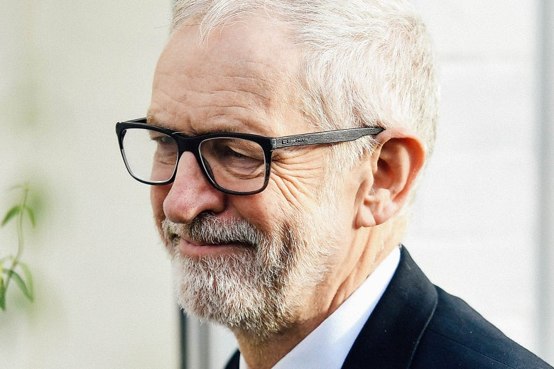 Close-up of Jeremy Corbyn's face.