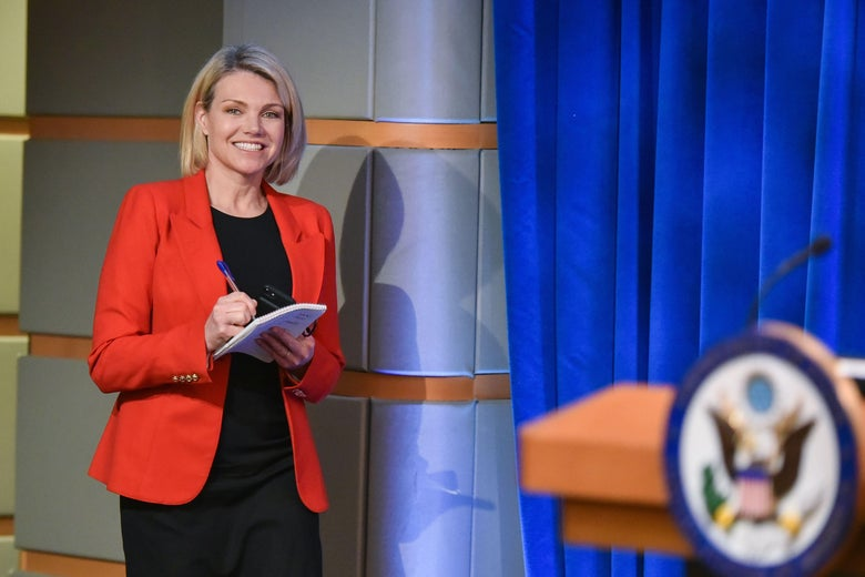 US State Department spokesperson Heather Nauert arrives for the release of the 2017 Annual Report on International Religious Freedom on May 29, 2018, in the Press Briefing Room at the US Department of State in Washington, DC.
