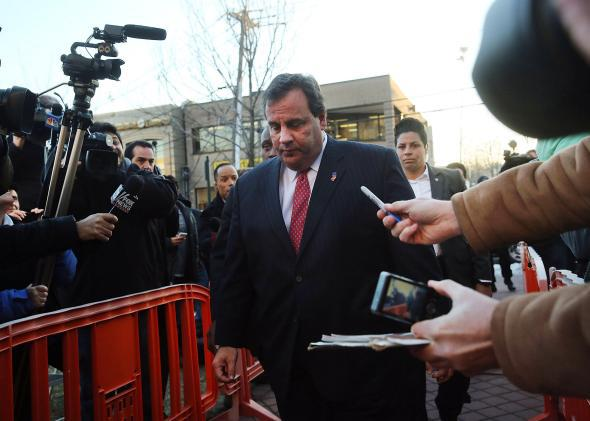 New Jersey Gov. Chris Christie enters the Borough Hall in Fort Lee on Jan. 9, 2014, to apologize to Mayor Mark Sokolich