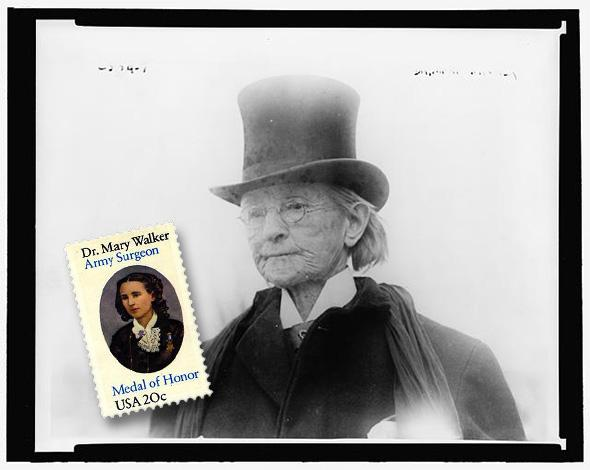 Dr. Mary Edwards Walker photographed in 1911 along with the stamp that commemorates her Civil War service