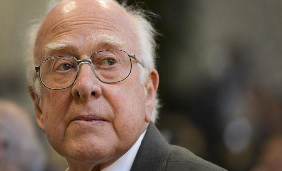 British physicist Peter Higgs looks on at a press conference on July 4, 2012 at the European Organization for Nuclear Research (CERN) offices in Meyrin near Geneva.